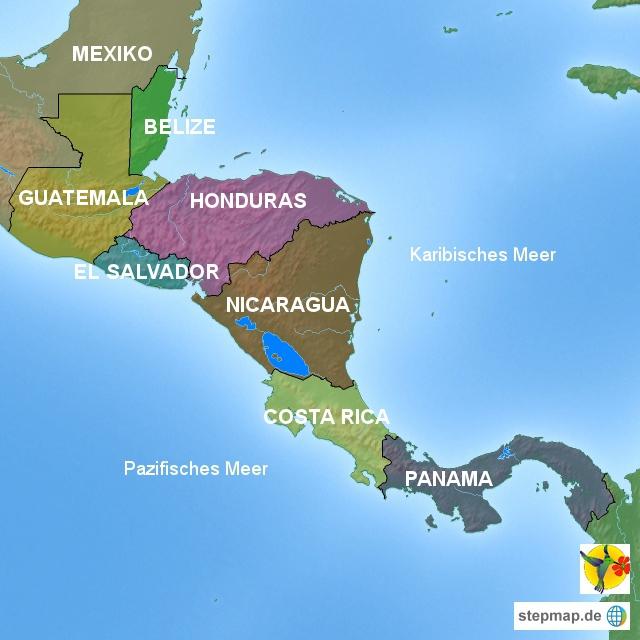 Übersicht Karte Mittelamerika Verlinkung auf Reisen
