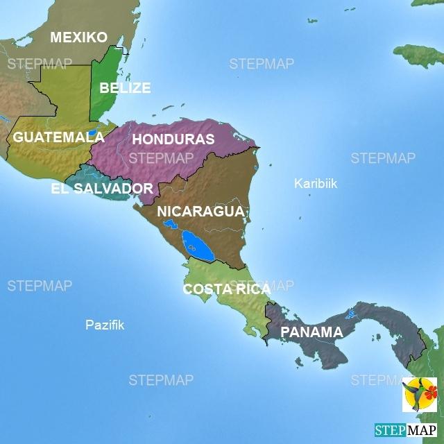 Übersicht Karte Mittelamerika Verlinkung auf Infos