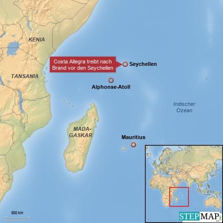 Costa Allegra treibt nach Brand Seychellen
