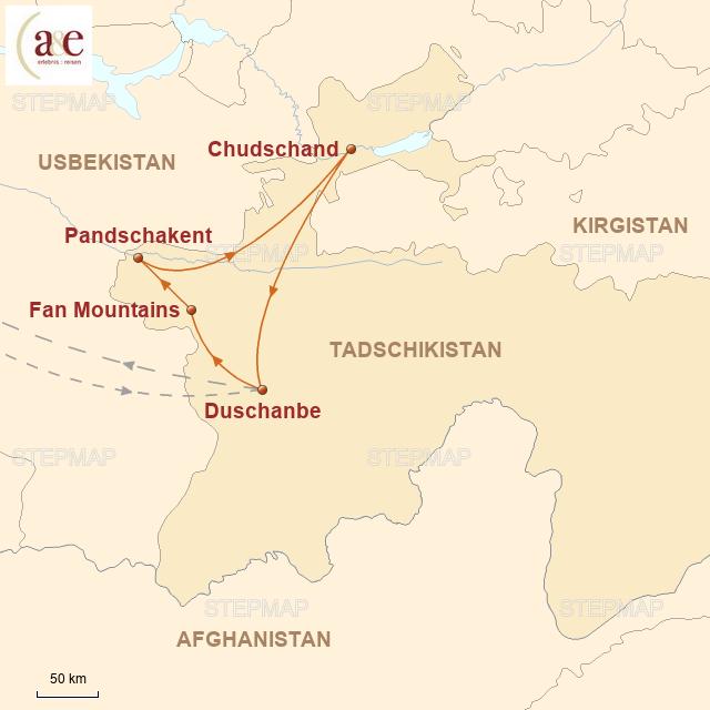 Routenkarte zur Reise Duschanbe & See-Idylle