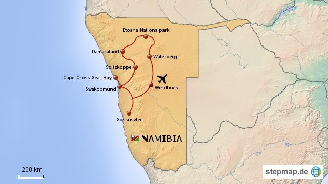Reiseroute durch Namibia 2010