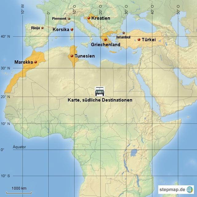 Karte südliche Destinationen