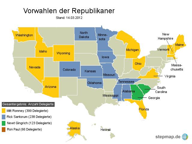Vorwahlen USA: Stand 14.03.2012