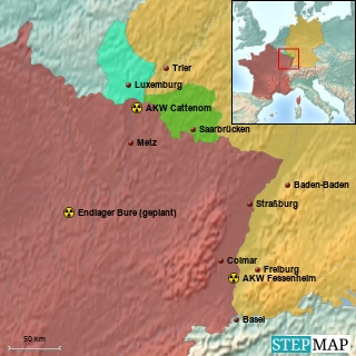 Atomkraftwerke und geplante Endlagerstätten in unmittelbarer Nachbarschaft zu Deutschland