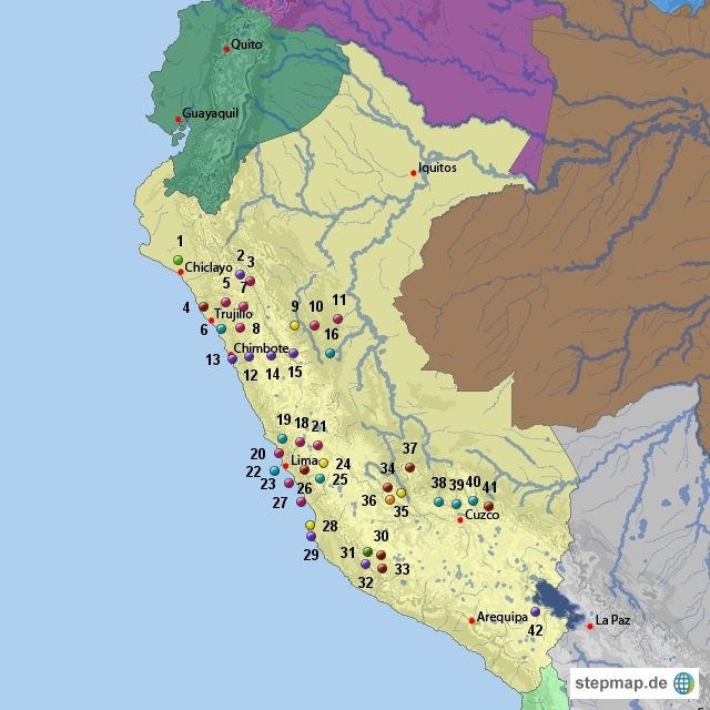 Ausgrabungsstätten in Peru