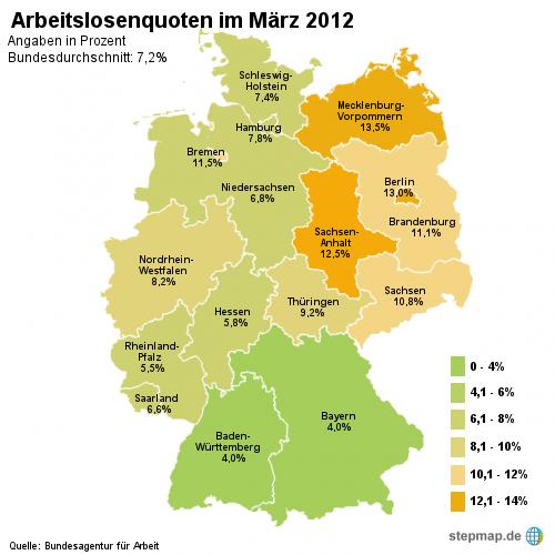 Arbeitslosenquoten im März 2012