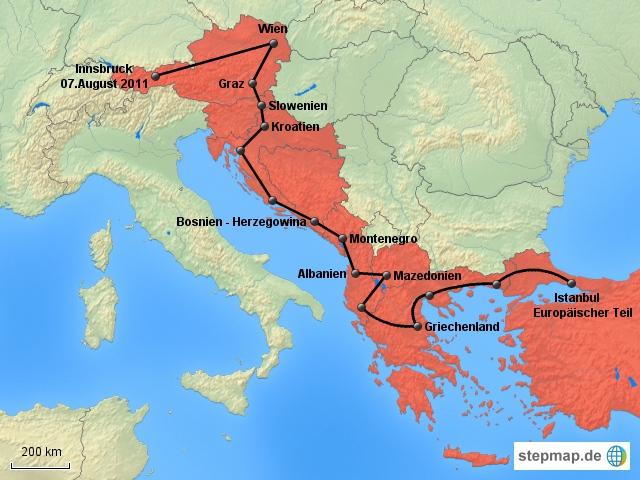 Die Reise durch Südeuropa