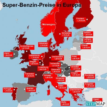 Alternativ: Super-Benzin-Preise-in-Europa