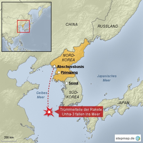 Nordkoreanische Langstreckenrakete explodiert
