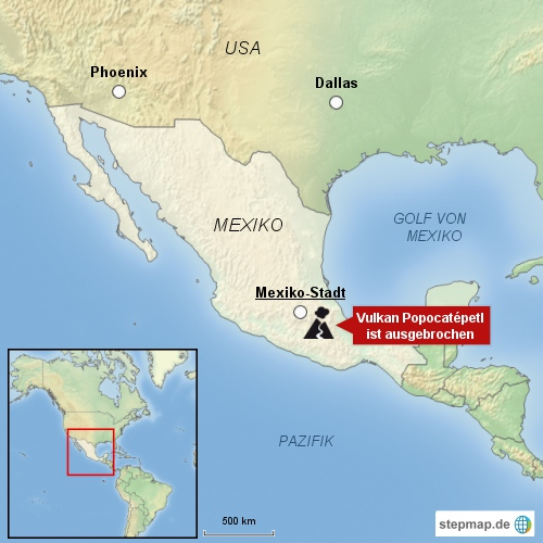 Vulkan Popocatépetl stößt Gase und Asche aus