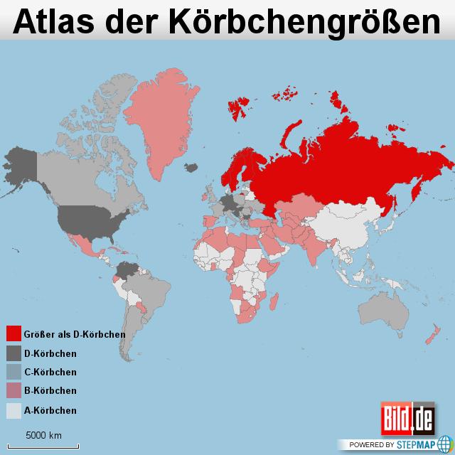 Weltkarte-Körbchengröße
