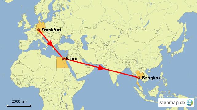 Flug Frankfurt - Kairo - Bangkok