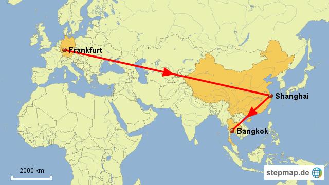 Flug Frankfurt - Shanghai - Bangkok