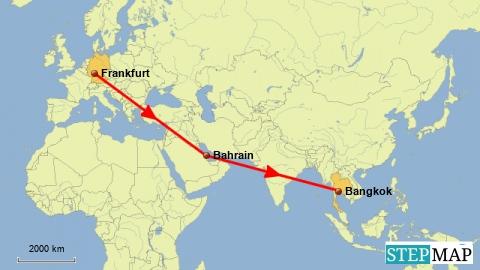 Flug Frankfurt - Bahrain- Bangkok