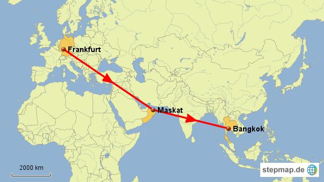 Flug Frankfurt - Maskat - Bangkok