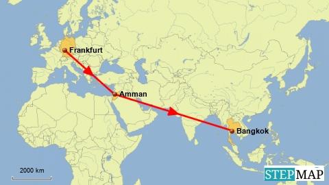 Flug Frankfurt - Amman - Bangkok