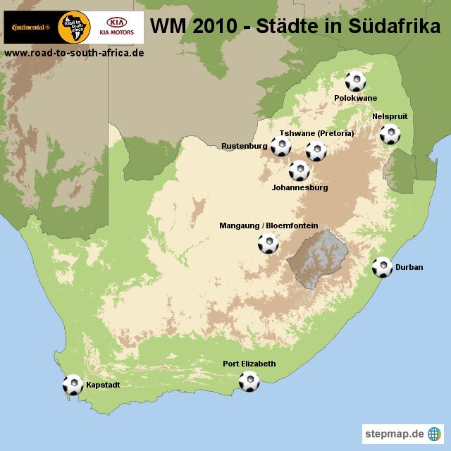 WM 2010 - Städte in Südafrika