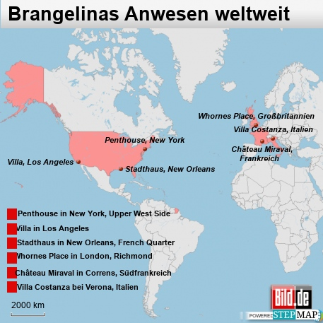 Brangelinas Anwesen weltweit