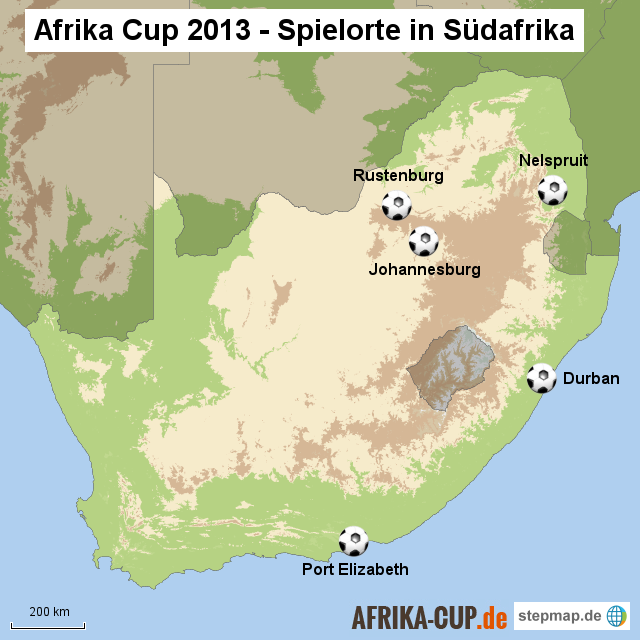 Afrika Cup 2013 - Spielorte in Südafrika