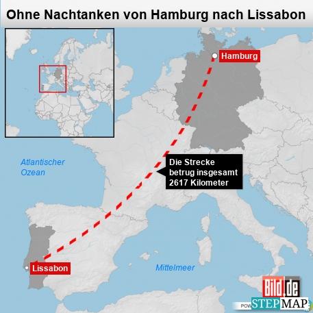 Ohne Nachtanken von Hamburg nach Lissabon