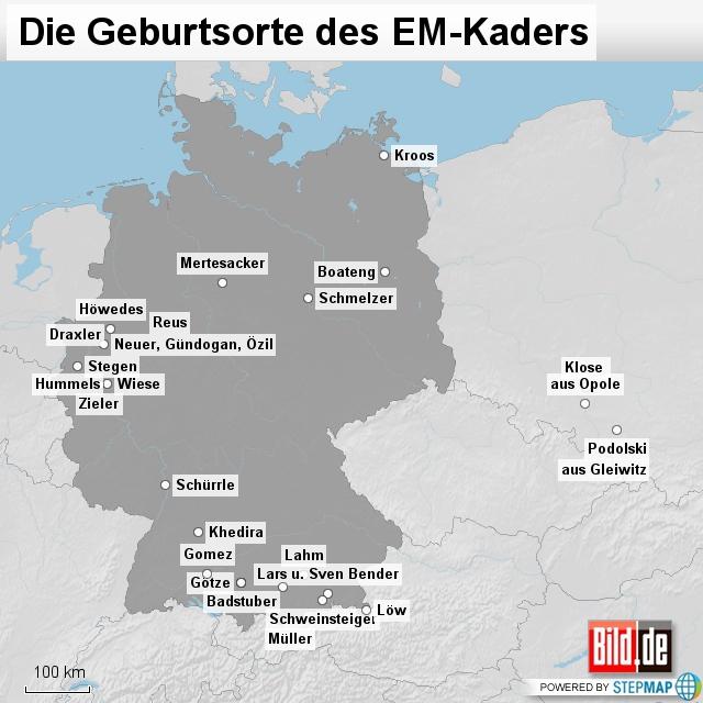 Die Geburtsorte des EM-Kaders