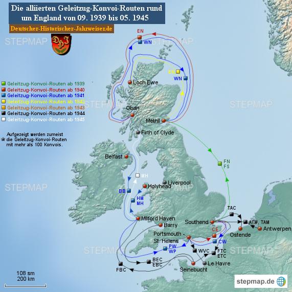 Alliierte Geleitzug-Konvoi-Routen rund um England von 09. 1939 bis 05. 1945 (Karte 5)