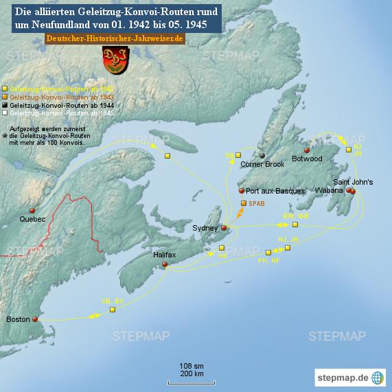 Alliierte Geleitzug-Konvoi-Routen rund um Neufundland von 01. 1942 bis 05. 1945 (Karte 6)
