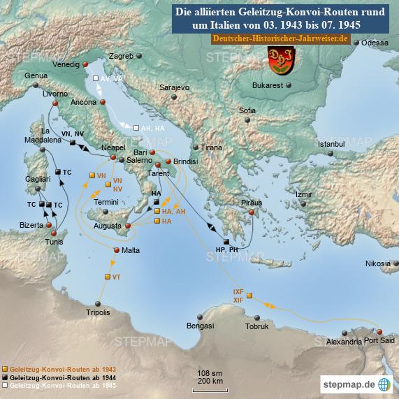 Alliierte Geleitzug-Konvoi-Routen rund um Italien von 03. 1943 bis 07. 1945 (Karte 7)