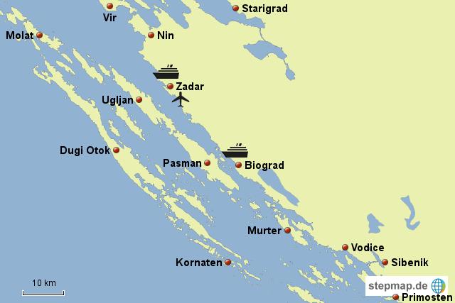 Karte Norddalmatien Kroatien