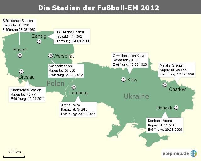 Die Stadien der Fußball-EM2012