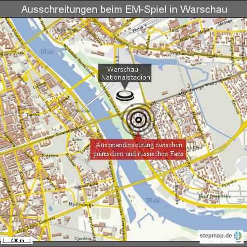 Ausschreitungen beim EM-Spiel in Warschau