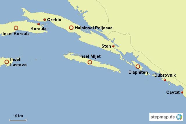 Karte von Süddalmatien in Kroatien