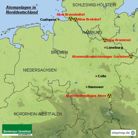 Atomanlagen in Norddeutschland