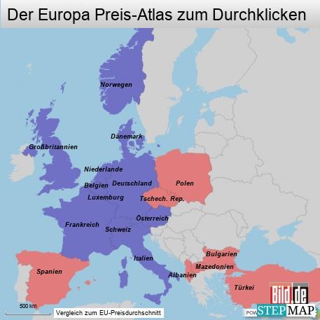 Preisniveaus in Europa 457
