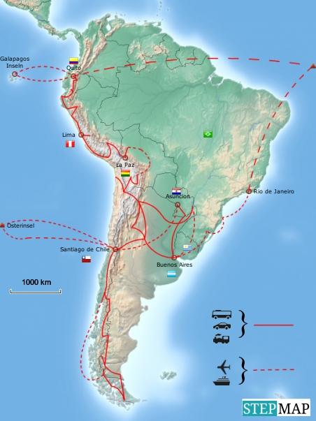 15.6.2011 bis 15.6.2012...einmal durch Südamerika... meine Route
