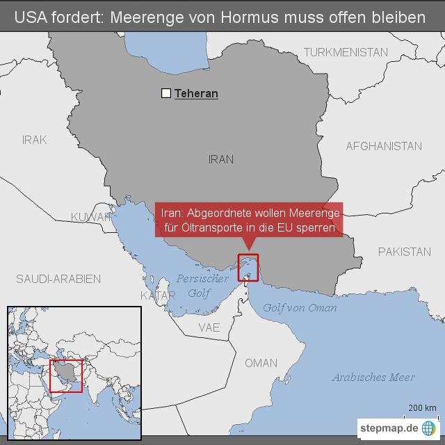USA fordert: Meerenge von Hormus muss offen bleiben