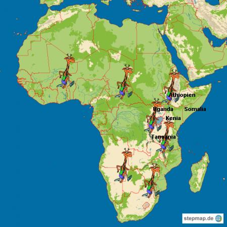 Afrika und Giraffen