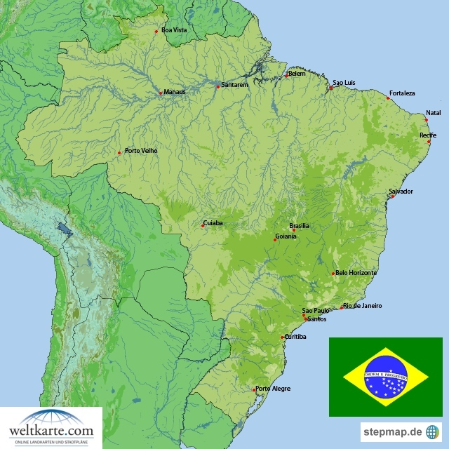 Landkarte Brasilien (Übersichtskarte) : Weltkarte.com - Karten und ...
