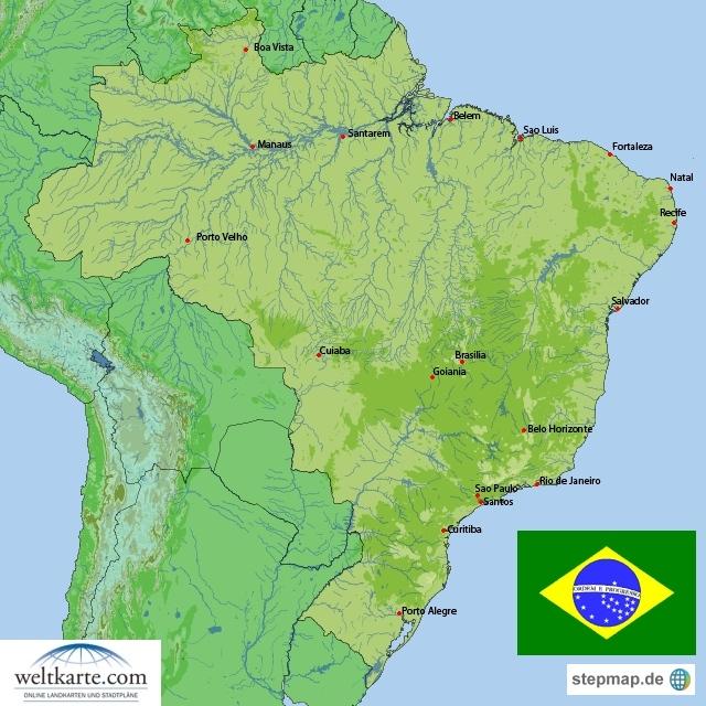 Landkarte Brasilien (Übersichtskarte) : Weltkarte.com - Karten und ... BRASILIEN KARTE