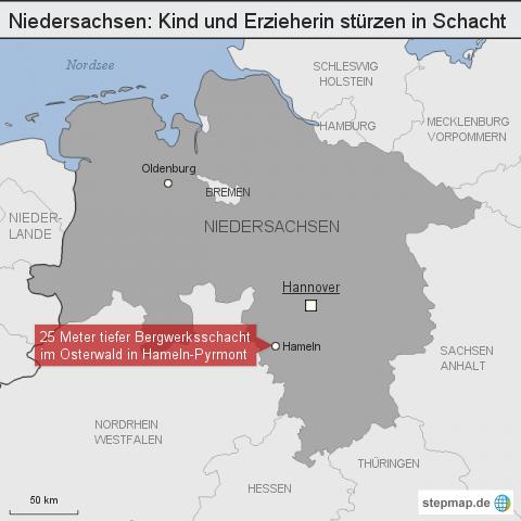KORREKTUR - Niedersachsen: Kind und Erzieherin stürzen in Schacht