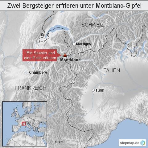 Zwei Bergsteiger erfrieren unter Montblanc-Gipfel