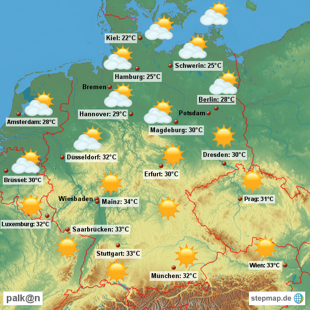 Wetterkarte f�r Deutschland