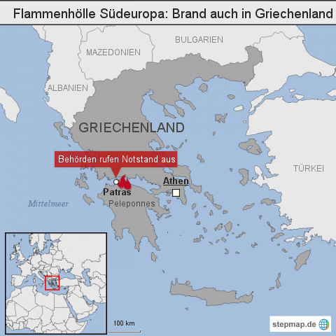 Flammenhölle Südeuropa: Brand auch in Griechenland