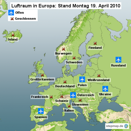 Luftraum in Europa: Stand Montag 19. April 2010