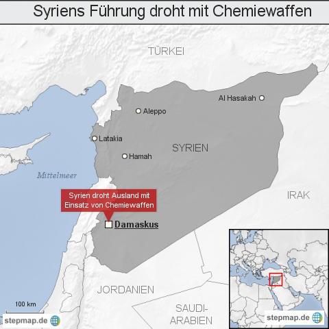 Syriens Führung droht mit Chemieswaffen