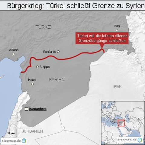 "Bürgerkrieg: <span class=""rtr-schema-org"" itemscope="""" itemtype=""http://schema.org/Place""><meta itemprop=""name"" content=""Türkei"">Türkei</span> schließt Grenze zu <span class=""rtr-schema-org"" itemscope="""" itemtype=""http://schema.org/Place""><meta itemprop=""name"" content=""Syrien"">Syrien</span>"