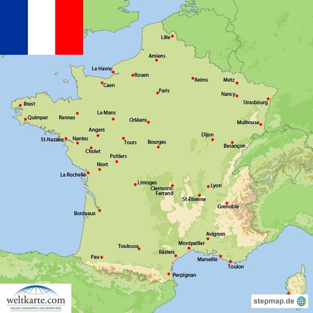 landkarte von frankreich Landkarte Frankreich (Übersichtskarte) : Weltkarte.  Karten  landkarte von frankreich