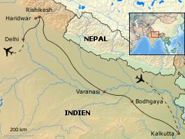 Karte von Göttin Ganga - Entdeckungsreise entlang Indiens mystischer Lebensader