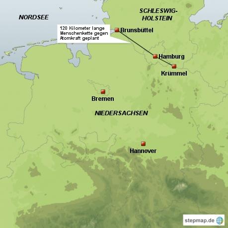 120 Kilometer lange Menschenkette gegen Atomkraft