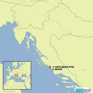nationalpark krka, übersichtskarte kroatien